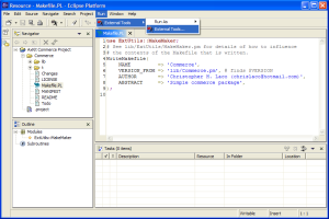 Figure 1: Opening External Tools configuration window