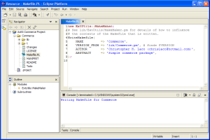 Figure 7: Perl script outputs into Console view